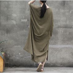 women cotton 1/2 sleeve loose fitting summer dress - Buykud  - 5