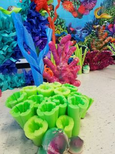 Pool noodles and spray insulation foam coral