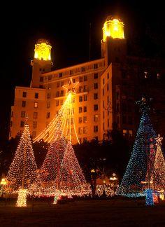 Arlington Hotel, at Christmas in Hot Springs National Park in Arkansas. via flickr