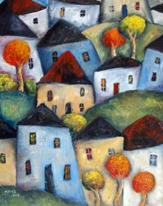 Hilly Suburbia Created By Jeremy Mayes Posted By Maher & Valentino Seascape Art, Naive Art, Whimsical Art, Acrylic Painting Canvas, Art Techniques, Cute Art, Watercolor Art, Art Drawings, Art Projects