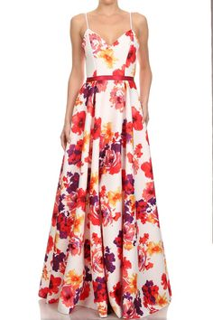 Full Length White Floral Printed Maxi Dress