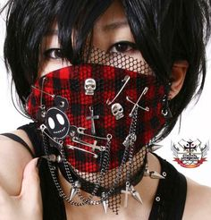 CUTiE Punk Pirate Skull Mesh and Checker Mask G from runnickyrun on Etsy. Punk Outfits, Gothic Outfits, Scene Outfits, Dance Outfits, Mouth Mask Fashion, Fashion Face Mask, Diy Mask, Diy Face Mask, Face Masks