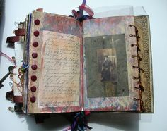 lovely book...   Altered Book Mixed Media Journal Antique Imagery. (Altered Books are wonderful long crafts, that you can constantly make! Love them!)