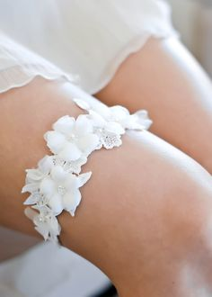 Wedding Garter Set very special and unique set of garters! ivory ... ff662bd91