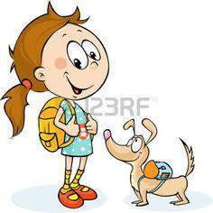 bambina con cane: scuola ragazza e cane con zainetto - illustrazione vettoriale Vettoriali