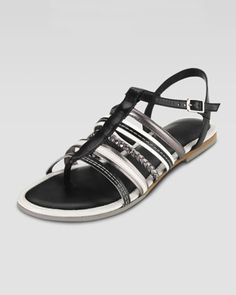 Nassau Braided Flat Sandal, Black/Ivory/Gunsmoke by Cole Haan at Neiman Marcus.