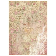 Shabby chic rice paper for Decoupage.  Rosebuds and lace. Available on www.cottagechicinteriors.ie