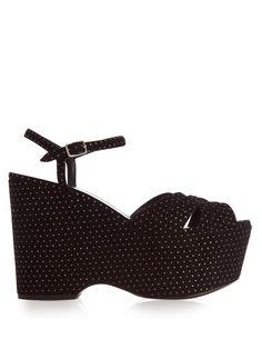 Candy polka-dot suede wedge sandals | Saint Laurent | MATCHESFASHION.COM
