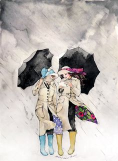 Best Friends Painting - Umbrellas - Rain - Watercolor Print 8x10