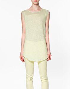 LINEN YOKE T-SHIRT - nice yellow!