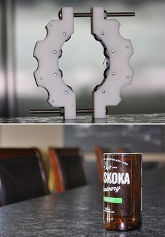 The Kinkajou Bottle Cutter Recycling glass bottles is something we should all… Cutting Wine Bottles, Bottle Cutting, Kinkajou Bottle Cutter, Glass Bottles, Beer Bottles, Shop Layout, Diy Supplies, Gadget Gifts, Wine And Beer