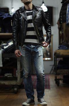 Best Leather Jackets, Leather Jacket Outfits, Vintage Leather Jacket, Men's Leather Jacket, Riders Jacket, Sharp Dressed Man, Biker Style, Denim Fashion, Men Dress