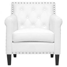 "Diamond-tufted club chair in white with faux leather upholstery and nailhead trim.  Product: ChairConstruction Material: Faux leather, foam and woodColor: WhiteFeatures: Nailhead trimDiamond-tuftedDimensions: 32.25"" H x 29"" W x 29"" DCleaning and Care: Wipe clean with a damp cloth"