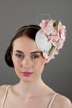 Rachel Black Millinery Bridal headpieces occasion wear for weddings in leather, crystal, silk. Fascinator Hairstyles, Hat Hairstyles, Hair Fascinators, Bridal Hat, Bridal Headpieces, Wire Headband, Floral Headpiece, Pink Paper, Handmade Felt