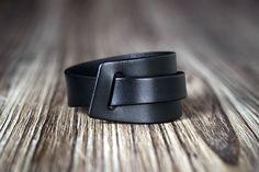 Black leather bracelet cuff men's bracelet women's
