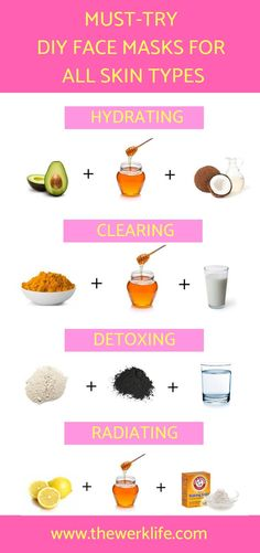 The best of DIY Beauty Hacks, these helpful tips will have your skin glowing and flawless in no time! Simple create these DIY face masks for acne, dry skin, and more, and watch the magic happen! Easy Face Masks, Homemade Face Masks, Diy Face Mask, Natural Face Masks, Natural Skin, Diy Beauté, Easy Diy, Simple Diy, Dyi
