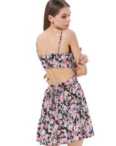 Black Spaghetti Strap Floral Backless Dress 17.99