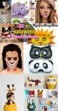 DIY Animal Crafts: Halloween Animal Costumes, Mask and Stuffed Toys. Halloween makeup, Head wraps ears and animals sew pattern + coloring pages for kids Animal Costumes For Adults, Easy Disney Costumes, Halloween Costumes Scarecrow, Animal Halloween Costumes, Homemade Halloween Costumes, Halloween Makeup, Easy Halloween, Toddler Paper Crafts, Paper Animal Crafts