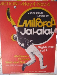 RARE Milford Jai Alai Action Advertising Sign Milford Connecticut New | eBay