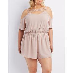 Charlotte Russe Cold Shoulder Romper ($30) ❤ liked on Polyvore featuring plus size women's fashion, plus size clothing, plus size jumpsuits, plus size rompers, purple, charlotte russe romper, pink rompers, plus size jumpsuits rompers, short sleeve romper and pink romper