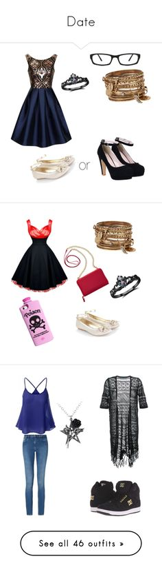 """""""Date"""" by demigoddess-shadowhunter ❤ liked on Polyvore featuring Chi Chi, ALDO, Monsoon, Fidelity, Valfré, TravelSmith, Calvin Klein, DC Shoes, Guild Prime and LE3NO"""