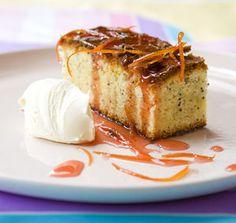 Witte chocoladecake met sauternes en bloedsinaasappelsiroop