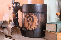 Warcraft Classic Horde Mug Warcraft Gift World of Warcraft Mug Wow Horde, Wooden Beer Mug, For The Horde, Leather Label, Gamer Gifts, Flask, Natural Wood, Best Gifts, Mugs