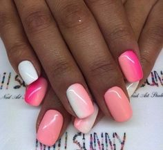 Bright gel polish for nails, Bright summer nails, Color transition nails, Iridescent nails, Manicure 2016, Ombre nails, overflow nails, Peach and white nails