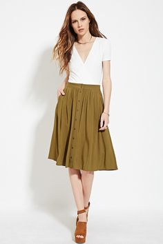 Fabulous Find of the Week: Forever 21 Buttoned Midi Skirt. This flirty, feminine skirt is the perfect spring transition piece. White Midi Skirt, Midi Flare Skirt, Forever 21, Shop Forever, Button Skirt, Elastic Waist Skirt, Maxis, Maxi Skirts, College Fashion