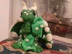 Green and Glow in the dark Night Night Dragon with a blankey