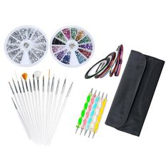 niceEshop(TM) 33pcs Nail Art Designing Painting Dotting Detailing Pen Brushes Bundle Tool Kit, Wheels of 1200 Silver Rhinestones Decorations And of 2400 Crystals, 10 Rolls Striping Tapes ** Wow! I love this. Check it out now! : Skin Care - Feet, Hands, Nails