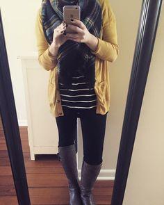 cold weather necessities: mustard cardigan. striped irma. blanket scarf. #irma #lularoe @lularoe @lularoegenevievemigala