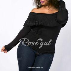 Sexy Off-The-Shoulder Long Sleeve Black Flounced Women's T-Shirt Plus Size Tops | RoseGal.com Mobile