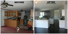 "Manufactured home kitchen renovation: carpet replaced with plywood plank floors. By Erin Westrate & husband at ""All Quiet on the MidWestern Front"" blog."