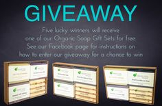 Who doesn't love free organic soap.  See our Facebook page for details. #giveaway
