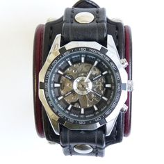 Mens Gothic Watch, Punk, Gothic, Leather Watch, Gothic Skull Watch, Black and Red WristWatch