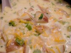 Awesome bacon potato soup...I found this on justapinch.com