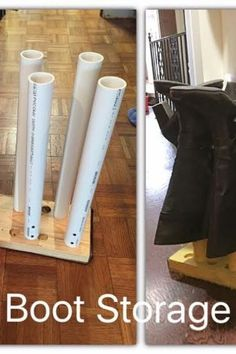 Check out this PVC boot storage idea for your entryway, mudroom or garage. Perfect for small entryway or closet. this keeps your boots shape and dirt off the floor. #hometalk Storage Hacks, Diy Storage, Faux Fireplace Mantels, Oak Dining Sets, Mud Paint, Boot Storage, Creative Shoes, Milk Crates, Steampunk Lamp