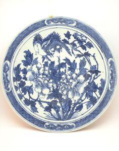 ANTIQUE 19thC CHINESE QING BLUE & WHITE PORCELAIN CHARGER PLATE, KINTSUGI REPAIR