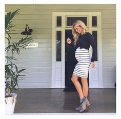 Love that bodycon and tied shirt above the bump! - Momlife Shirt - Ideas of Momlife Shirt - Love that bodycon and tied shirt above the bump! Cute Maternity Outfits, Fall Maternity, Stylish Maternity, Maternity Dresses, Maternity Fashion, Maternity Pictures, Maternity Clothing, Maternity Styles, Maternity Swimwear
