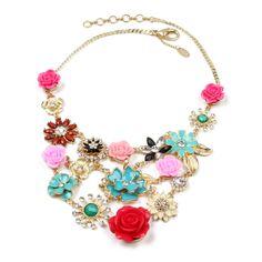 Flowering Jaemine Bib - Large multi color flower bib necklace. OMG!!!