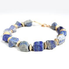 Raw Lapis Necklace Cobalt Blue Stone Chunky by rubyskydesign $105