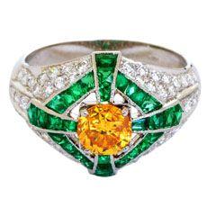 Emerald Diamond Ring with Yellow Diamond Center