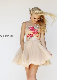 Shop New 2014 Sherri Hill Prom Dresses, find Sherri Hill 21198 nude, multi floral lace short dress at RissyRoos.com.