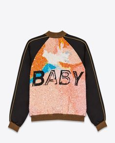 """SAINT LAURENT """"BABY"""" TEDDY JACKET IN BLACK VISCOSE AND MULTICOLOR SEQUINS"""