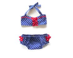 Baby girl's vintage style bikini to fit 6 by NaturalKidsClothing