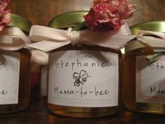 Mini Honeypot  Favor: Absolutely fabulous! I just love this mama-to-bee baby shower favor idea sent in by Gayle. I love the cute label she made to go with it. It would also