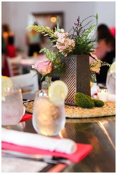 little miss lovely floral design // kitchen themed bridal shower // cheese grater flower centerpiece