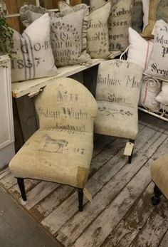 Love these antique chairs reupholstered with old feed sacks.