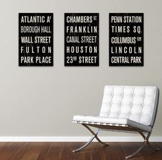 3 NY Subway Sign Prints.   A perfect way to take some of the City with us wherever we go